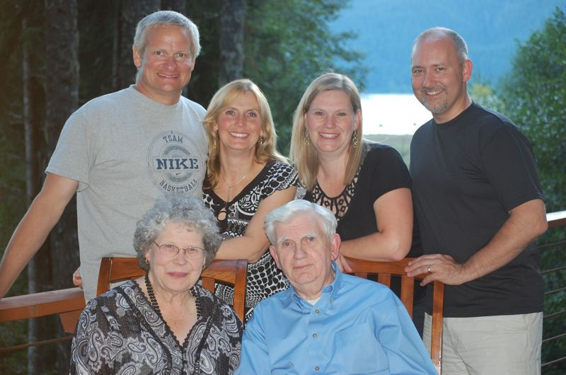 by: PHOTO COURTESY: GRACE DIDWAY - Celebrating Verne Duncan's 80th birthday, Duncan is pictured with his wife, Donna, in the front row. Back row: son-in-law Brian Kirk, daughter Annette Kirk, daughter Chris Didway and son-in-law Larry Didway (the Oregon City School District superintendent).