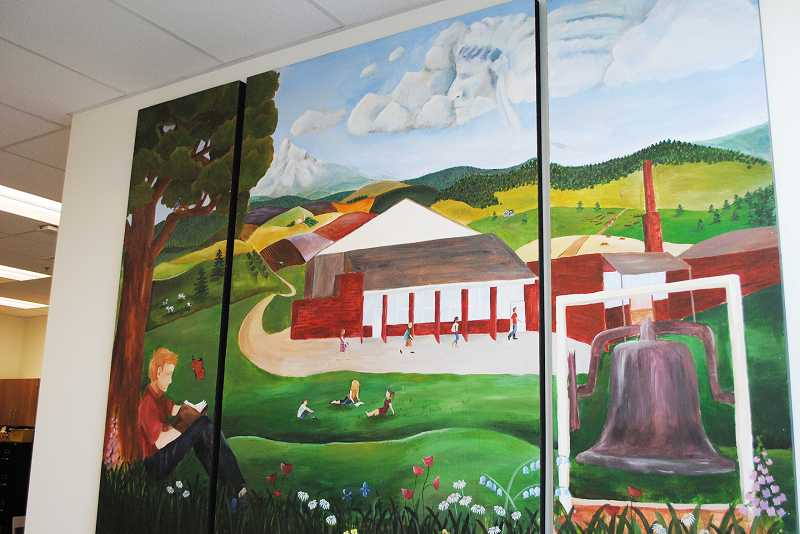 by: NEWS-TIMES PHOTO: STEPHANIE HAUGEN - Michaela Shults, a 2013 Banks High School graduate, painted this mural representative of Banks for her senior project.