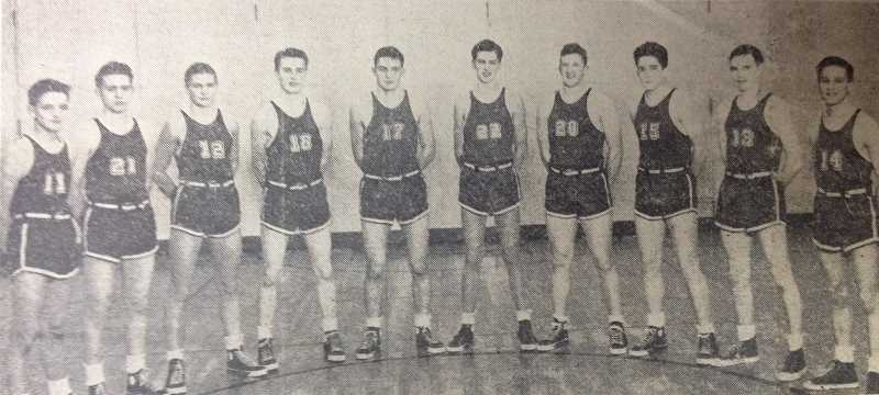 by: INDEPENDENT FILE PHOTO - During his Woodburn High School days, Leonard 'Swede' Pavlicek was a four-letter athlete, and played for the top-performing basketball team of 1952. He is pictured fourth from right in the photo from the Woodburn Independent archives.