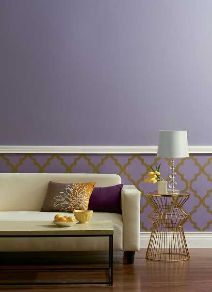 This living room is painted in Devine Color Starlight, the wallpaper is Cable Stitch in Starlight.