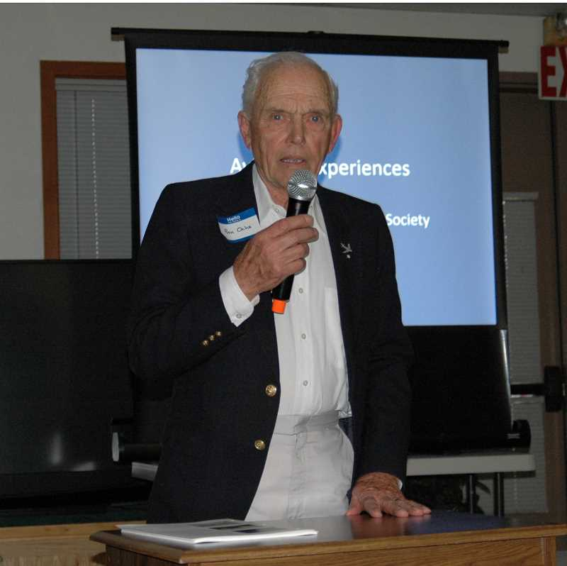 by: SUSAN MATHENY/MADRAS PIONEER - Keynote speaker Ron Ochs' talk included pohotos of the many planes he flew and built.