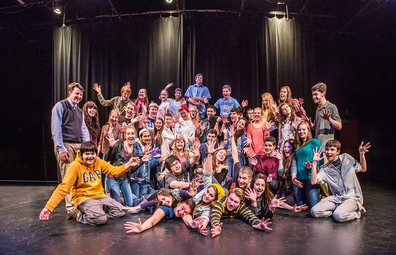 by: SUBMITTED PHOTO: DAVID KINDER - The cast of Lake Oswego High School's production of one act plays pauses to pose and smile.