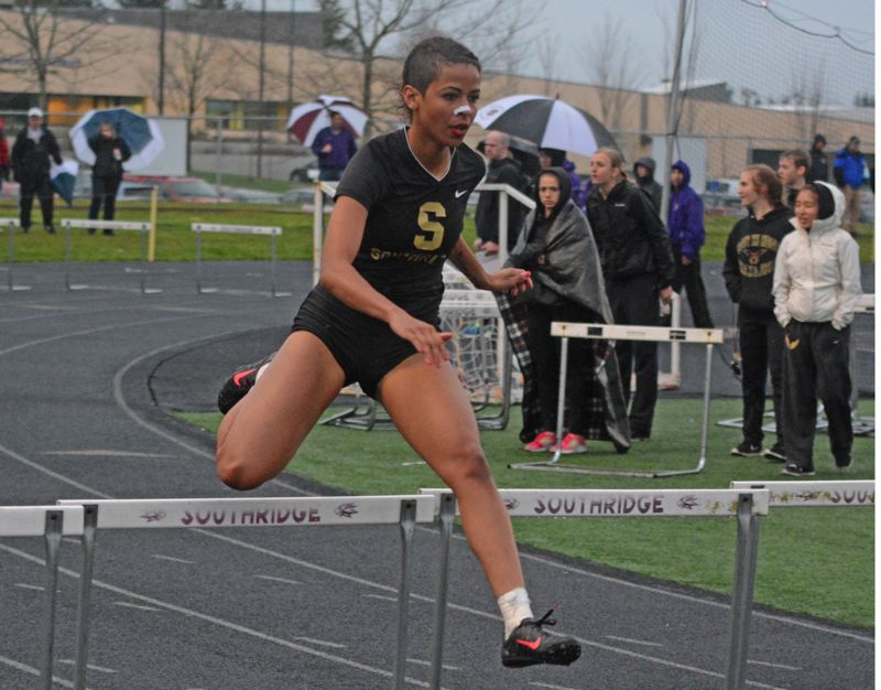 by: TIMES PHOTO: MATT SINGLEDECKER - Southridge's Natalie Leckey won both the 100 and 300 hurdles against Sunset on Thursday, two weeks after falling at an intersquad scrimmage.