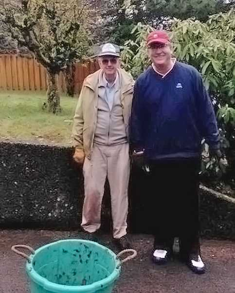 by: SUBMITTED PHOTO - Arthur Martin and Bill Patton helped stage a clean-up event in the Red Fox Hills near Tryon Creek State Natural Area.