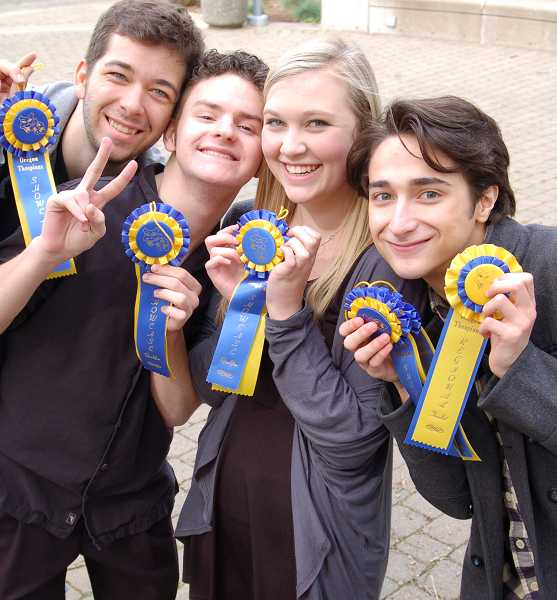 by: SUBMITTED PHOTO: AMY HAROLDSON - Lakeridge students who auditioned in a state showcase at the Oregon Thespians were, from left: Daniel Barber, Christian Mitchell, Caroline Haroldson and Lucas Friedman.