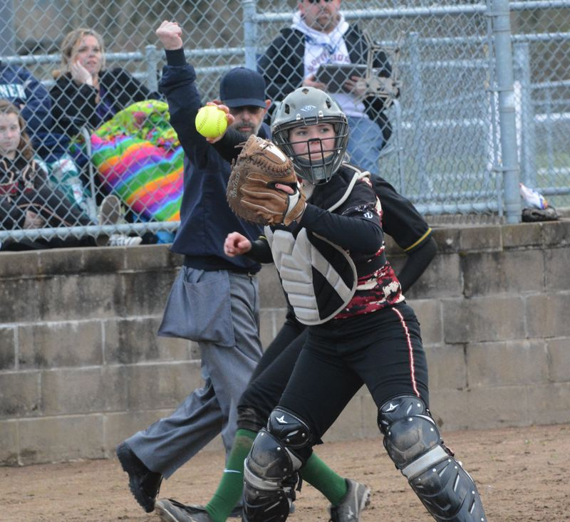 by: TIMES PHOTO: MATT SINGLEDECKER - Southridge freshman catcher Brooke Johnson will be one of the young players the Skyhawks count on this season for defense and hitting at the dish.
