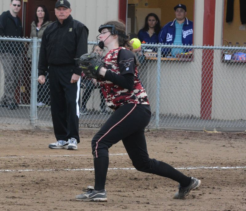 by: TIMES PHOTO: MATT SINGLEDECKER - Southridge senior third baseman Erin Bonzer said she expects the Skyhawks to be back near the top of Metro this season after a strong preseason.