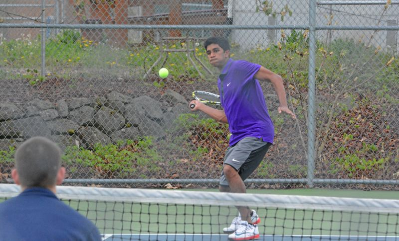 by: TIMES PHOTO: MATT SINGLEDECKER - Sunset senior Rahul Bilakanti filled in nicely with Ryan Chin after both of Chins doubles partners couldnt go against Westview on Tuesday.