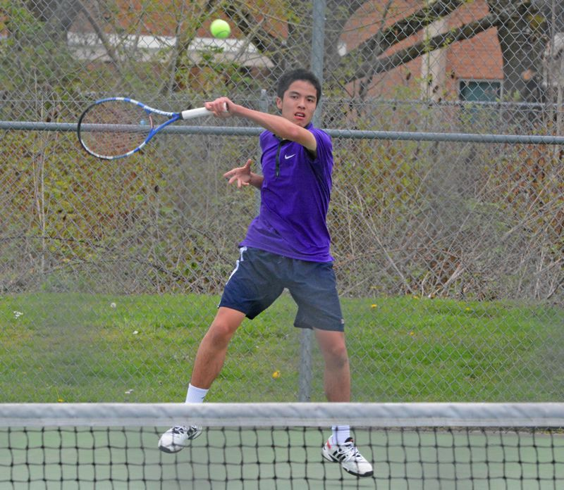 by: TIMES PHOTO: MATT SINGLEDECKER - Sunset's Jared Lin won the first set with a tiebreaker against Westviews Avi Vemuri on Tuesday.