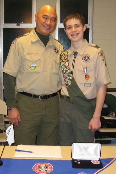 John McCarthy and Boy Scout Troop 432 Scoutmaster Brian Chang