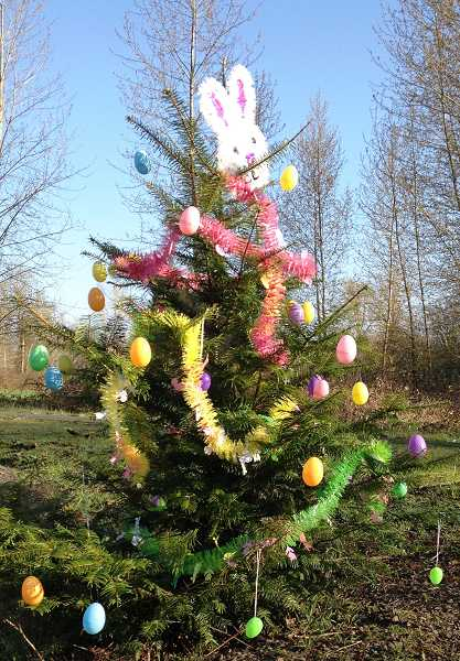 by: AMANDA ULRICH - The Holiday Tree adorned for Easter.