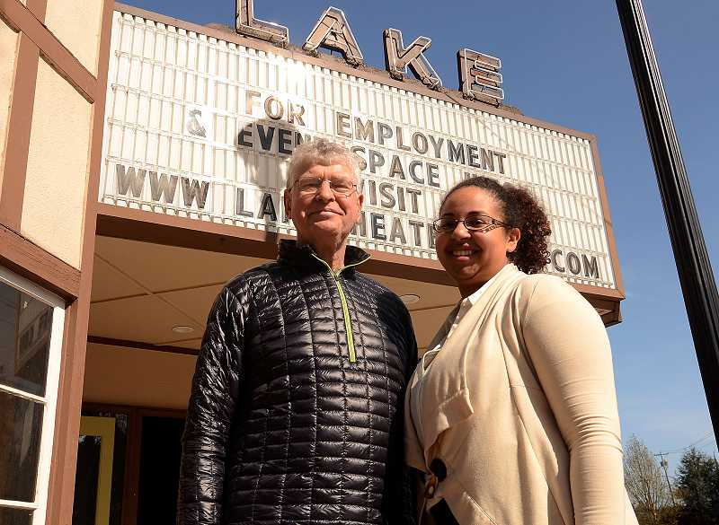 by: REVIEW PHOTO: VERN UYETAKE - It has been a long time coming, but owner Drew Prell and events manager Katherine Du Pont are proud and happy about the Lake Theater and Cafe opening this month. New seats, new screen, new everything are featured in the theater portion of the Lake Theater and Cafe. Great movies, new and old, will be shown there.