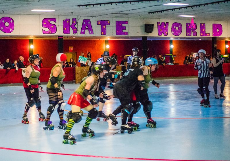 by: HILLSBORO TRIBUNE PHOTO: CHASE ALLGOOD - The first home derby of the newly-organized Air Raid Roller Girls was April 5, but now the roller derby team will need to find a new home for its games and practices.
