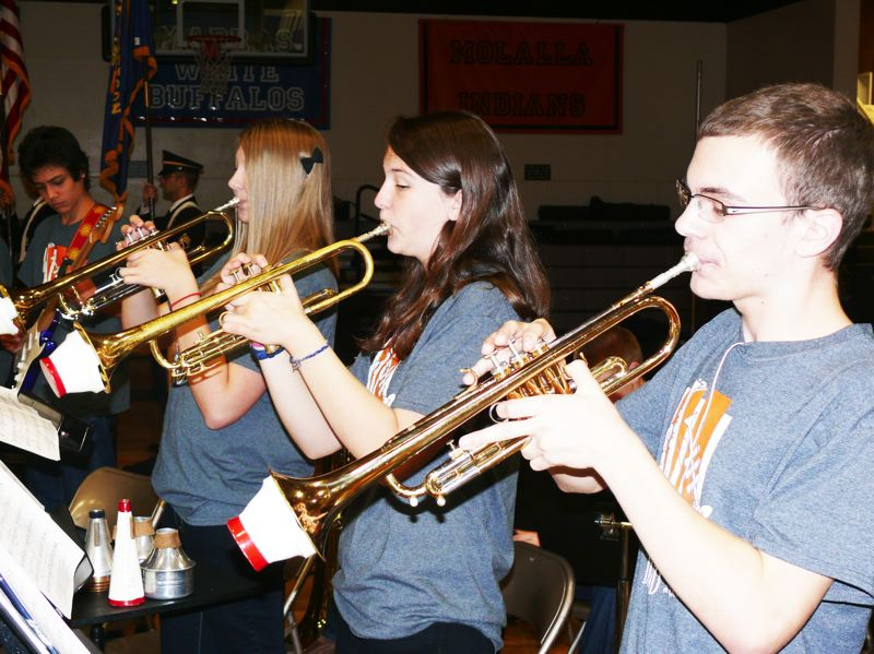 by: PHOTO COURTESY: GHS - Gladstone High School Band's horn players are pictured in competition.