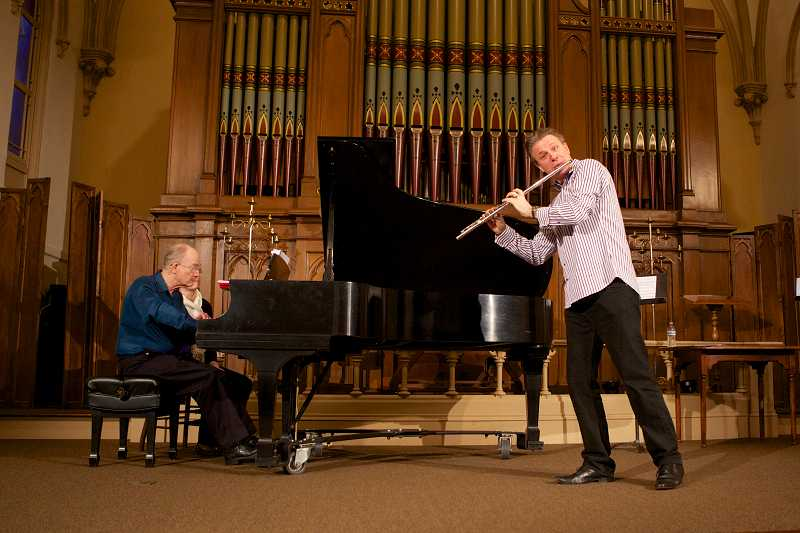 by: SUBMITTED PHOTO: NANCIE THOMPSON - The Greater Portland Flute Society hosted a recital and reception Friday night at the Old Church in Portland, featuring renowned flutist and composer Ian Clark to kick off the 2014 Flute Fair festivities.