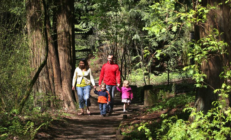 by: OUTLOOK PHOTO: JIM CLARK - Viri and Danny Arguello take Graham and Phoebe, whom they were babysitting, for a walk in Leach Botanical Garden on Wednesday morning.