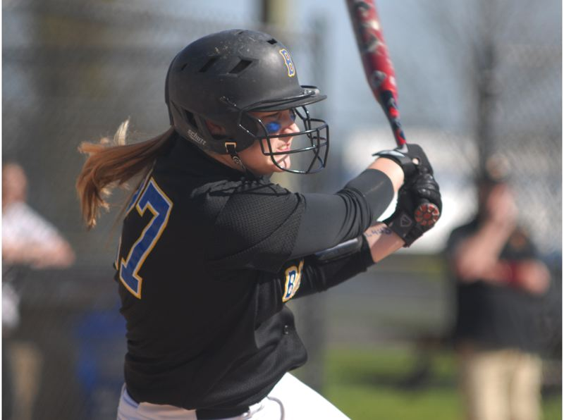 by: THE OUTLOOK: DAVID BALL - Barlows Kailee Tatro swings through during Thursdays 7-4 win over Central Catholic at Delta Park.