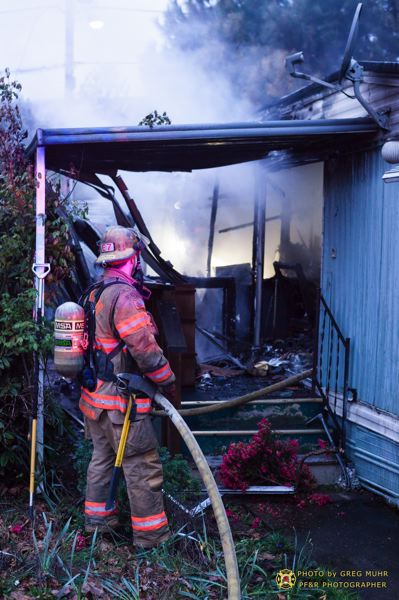 by: GREG MUHR/PORTLAND FIRE & RESCUE - No one was injured in this Saturday morning mobile home fire.