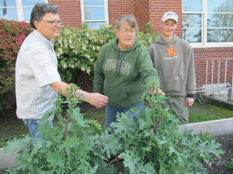 by: PHOTO BY ELLEN SPITALERI - Donna Smith, middle, tells Greg Baartz-Bowman and Robyn Streeter about the benefits of growing kale.