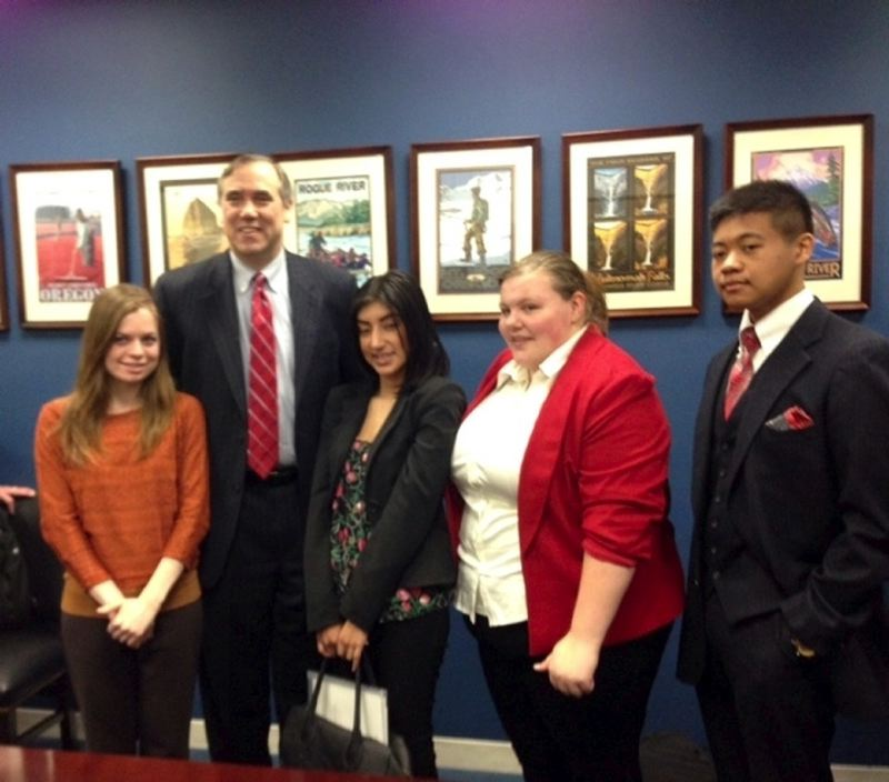 by: CONTRIBUTED PHOTO - Springdale Job Corps students Randy Nguyen, right, and Arlene Hernandez, center, join students from Tongue Point Job Corps Center in Astoria to meet with Sen. Jeff Merkley in his Washington, D.C. office.