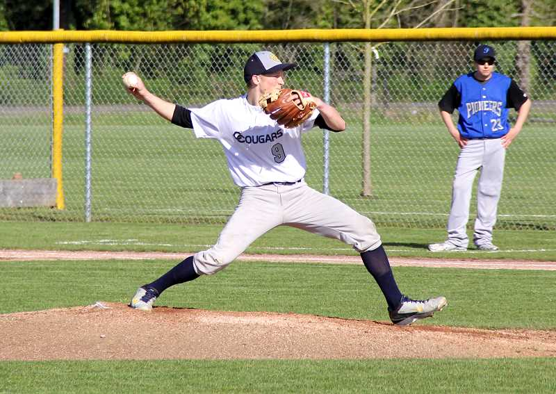 by: LACEY MCGRAW - Andrew Axmaker on the mound. Axmaker threw a no hitter on Monday, April 7, against Western Mennonite.
