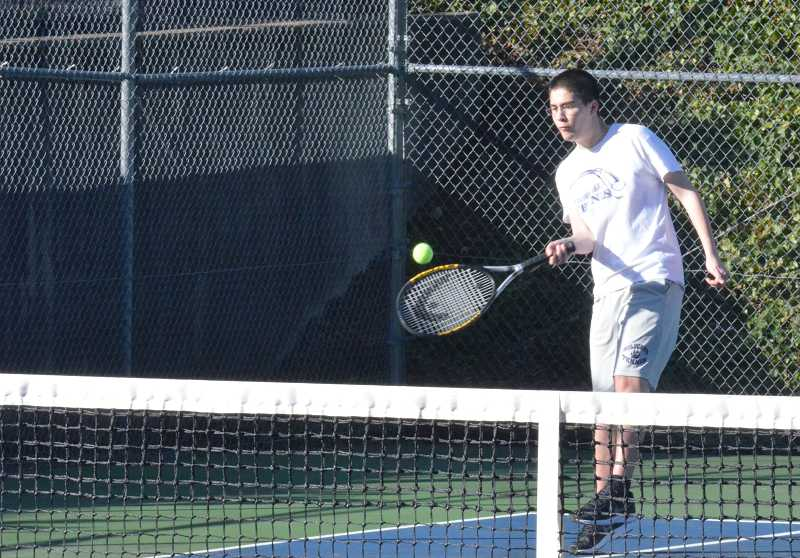 by: JEFF GOODMAN / PAMPLIN MEDIA GROUP - Alex Molisani and the Wilsonville boys tennis team defeated Sherwood 8-1 in the penultimate meeting of the Northwest Oregon Conference rivals.