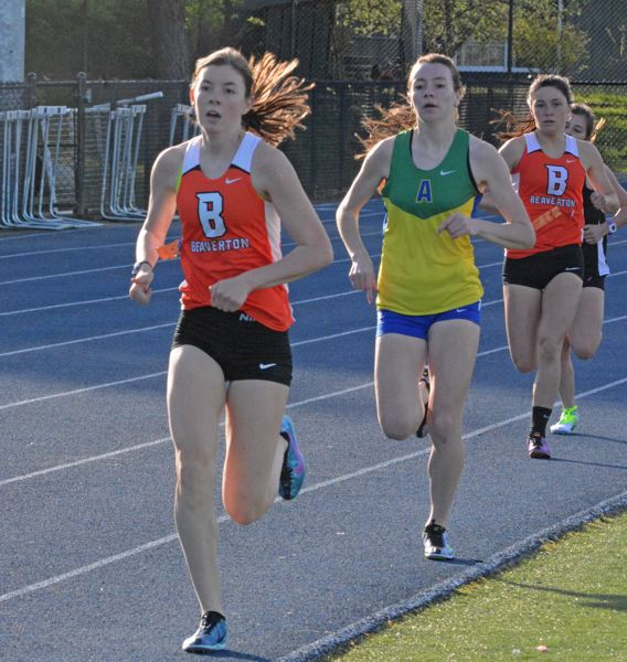 by: TIMES PHOTO: MATT SINGLEDECKER - Beaverton's Erin Gregoire took first in the 800 against Aloha on Wednesday to help the Beavers take the team win.