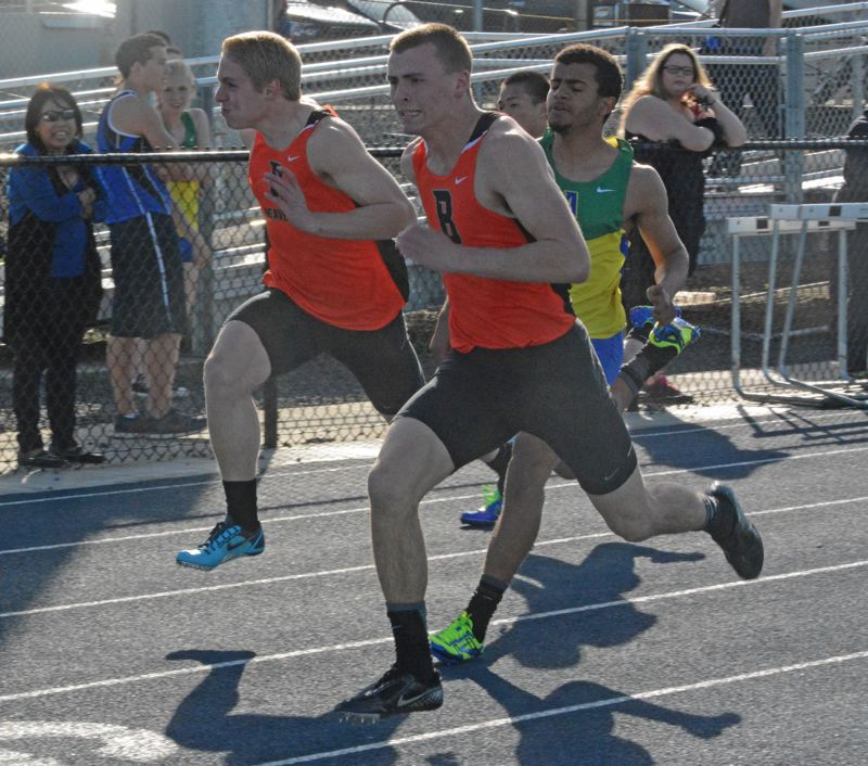 by: TIMES PHOTO: MATT SINGLEDECKER - Beaverton junior sprinter Stephen Marcille won the 100 dash and helped the Beavers 4X100 relay take first against Aloha on Wednesday April 8.