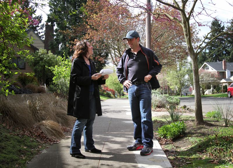 by: TRIBUNE PHOTO: JONATHAN HOUSE - Multnomah County Chair candidate Deborah Kafoury chats with Guillaume Debergh while canvassing in Northeast Portland Saturday morning.