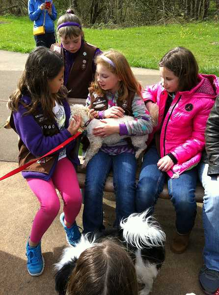 by: SUBMITTED PHOTO - Members of Girl Scout Troop No. 45060 play with Maggie, a dog up for adoption at Oregon Dog Rescue. The troop recently donated $400 to the organization.