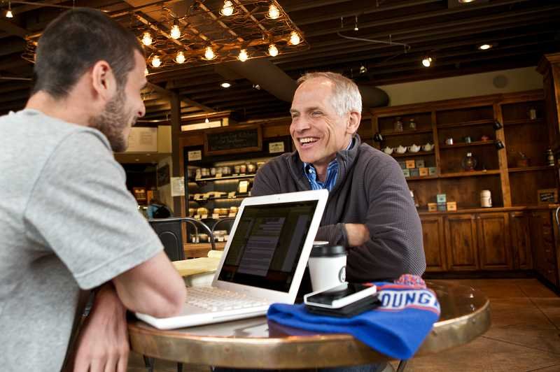 by: TIMES PHOTO: JAIME VALDEZ - Ben Herr, director of Well & Good Coffee on Beveland Street, chats with customers. The nonprofit coffee shop donates all its profits to support local ministries across the city.