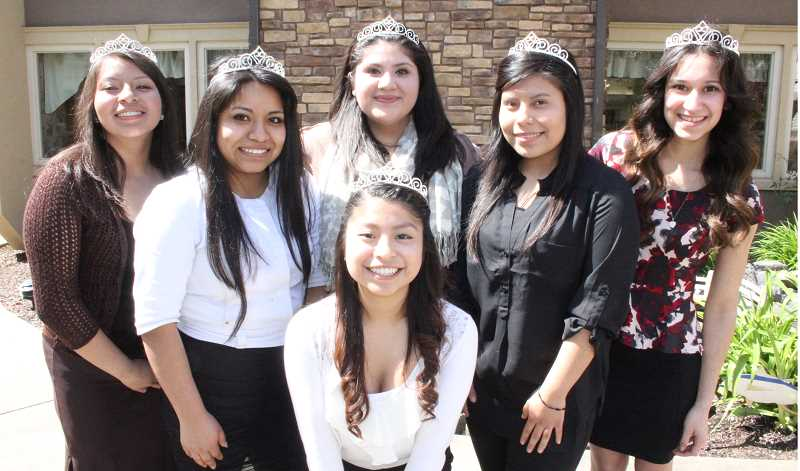 by: LINDSAY KEEFER - The 2014 Woodburn Fiesta Mexicana Court was announced last week. Their first appearance as a group was at Cascade Park Retirement Community. The girls are (back, from left) Betsai Lopez Muñoz, Alejandra Hernandez, Amelia Robles, Celiflora Gaspar, Mirtha Arellano and (front) Yelitza Santiago Sanchez. The group, coached by coordinator Marta Trinidad, will make appearances in and around Woodburn before the crowning of the queen and first princess the first day of Fiesta, Aug. 2.