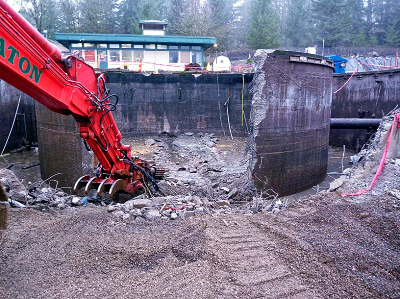 by: SUBMITTED PHOTO: CITY OF WILSONVILLE - A dedication ceremony will be held Thursday at 2 p.m. for the new Wilsonville wastewater treatment plant, shown here during demolition of the old plant.