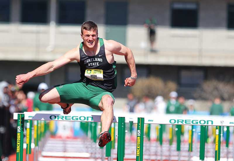 by: LARRY LAWSON/PORTLAND STATE - The hurdles are not his strongest event, but former Culver grad Nevin Lewis scored enough points in the event to help push him to Portland State's second highest decathlon score in school history.