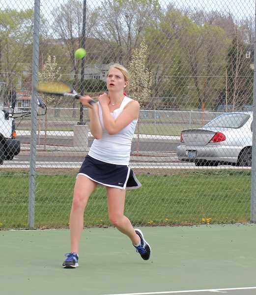 by: JEFF WILSON/THE PIONEER - Madras senior Megan Forristall has upped her level of play and earned enough wins Saturday to finish third at No. 2 singles.