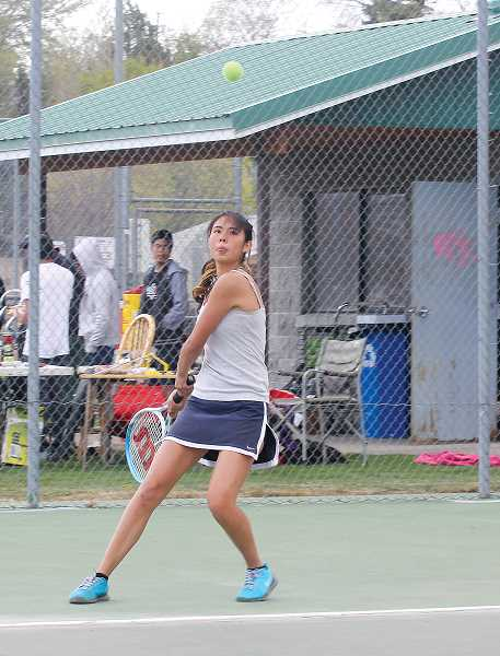 by: JEFF WILSON/THE PIONEER - Itzel Romero took fifth place in No. 1 singles Saturday in the Madras Invitational, a finish she wasn't thrilled with.