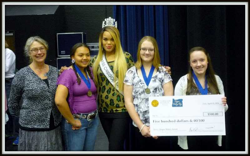 by: SUBMITTED PHOTO - At the state History Day awards are, from left, advisor Courtney Lupton, Thyreicia Rowedan Simtustus, Miss Oregon Marneet Lewis, Madalyn Breach, and Carly Breach.
