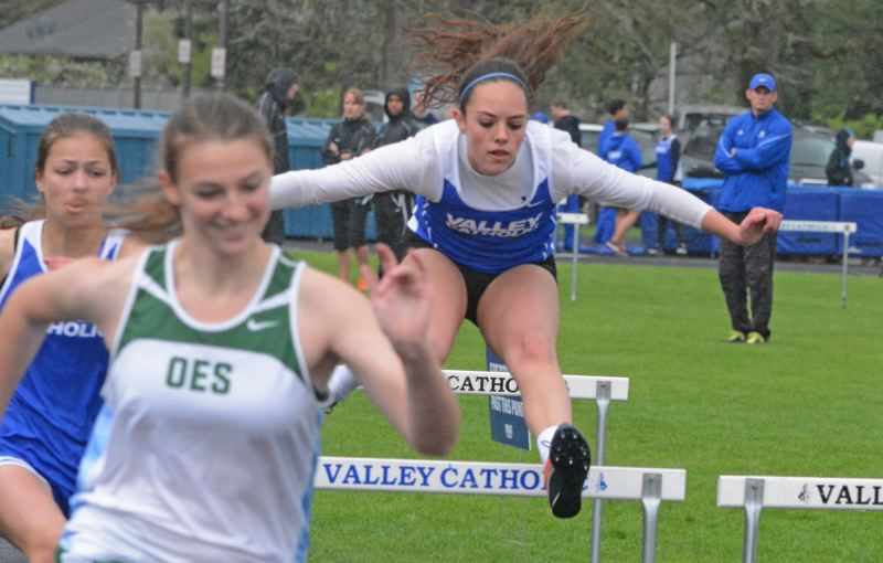 by: TIMES PHOTO: MATT SINGLEDECKER - Valley Catholic's Addie Flemmer finished fourth in the 100-meter and 300-meter hurdles against OES.