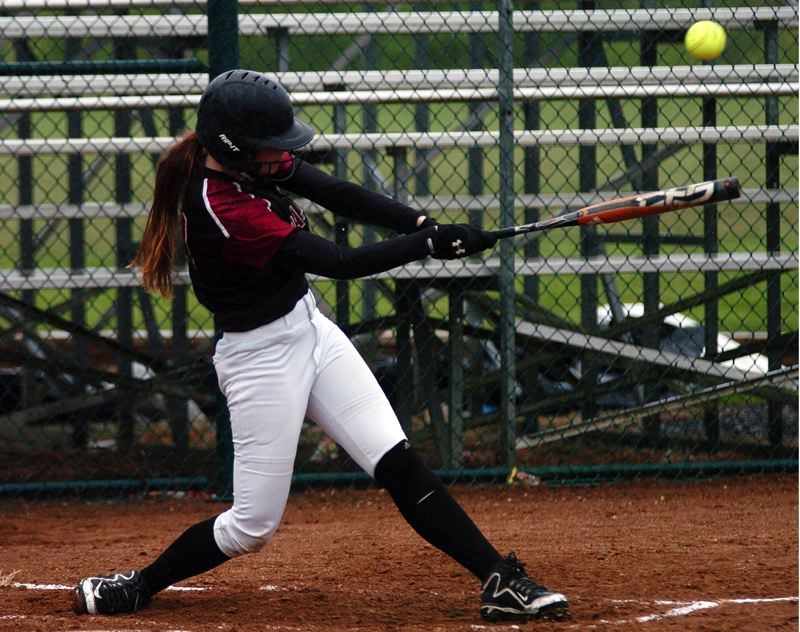 by: DAN BROOD - SMACK -- Tualatin sophomore Hannah Self hits a leadoff single to left field in the second inning of the Wolves' 5-1 win over Century.