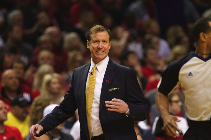 by: TRIBUNE PHOTO: JAIME VALDEZ - Blazers coach Terry Stotts reacts to a call from the bench during Portlands 123-120 overtime win over Houston on Sunday.