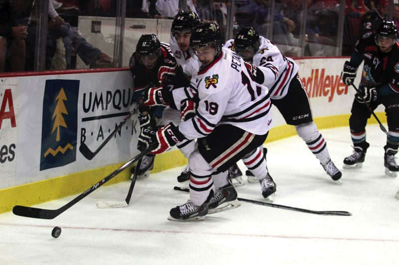 by: TRIBUNE PHOTO: JONATHAN HOUSE - Nic Petan was one of the Portland Winterhawks offensive stars in a 4-1 series victory over the Kelowna Rockets that put the Hawks into their fourth consecutive Western Hockey League finals.