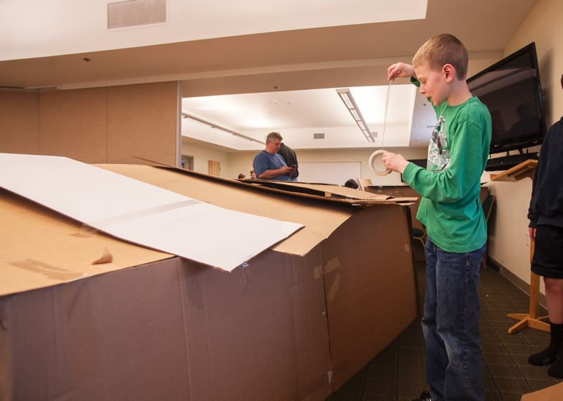by: SPOKESMAN PHOTO: JOSH KULLA - A lot of creativity and work went into creating cardboard shelters intended to mimic the plight of the homeless as part of the 30 Hour Famine.