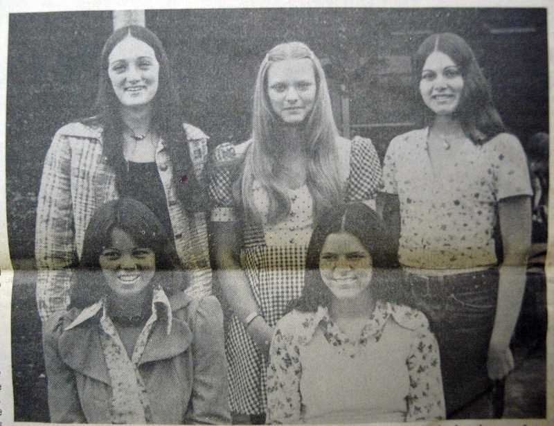 by: ARCHIVE PHOTO - Meet the 1974 Estacada Union High Junior-Senior Prom princesses. They are (standing, from left) Linda Parmele, Sherri Parsons, Linda Roses, Lynn Perrin (seated, from left) and Barb Haggerty.