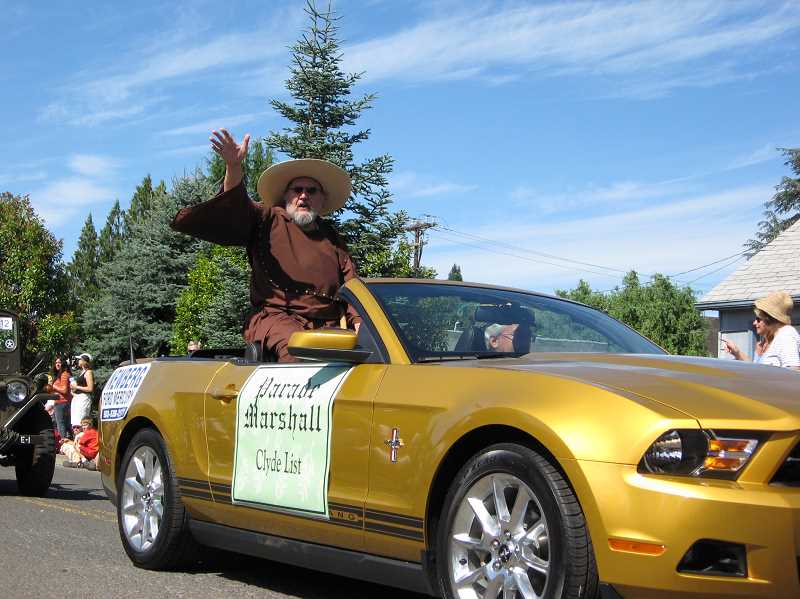 by: GAZETTE FILE PHOTO: RAY PITZ - Clyde List, aka Friar Tuck, rides as grand marshal in the 2009 Robin Hood Festival Parade. The deadline for the Maid Marian selection is coming up soon.