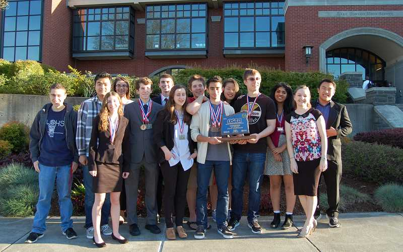 by: SUBMITTED PHOTO - Lake Oswego High School debate team placed first in the 6A division of the state speech and debate competition last week.