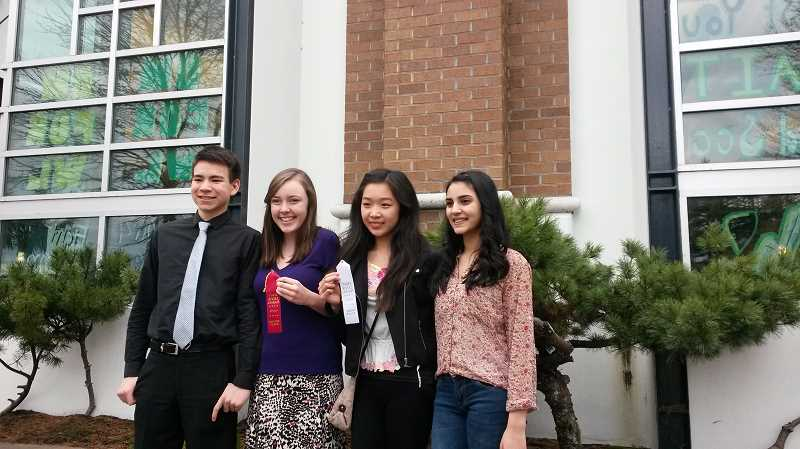 by: SUBMITTED PHOTO - Lakeridge had four students who made it to the state speech and debate competition, from left: Greg Bisbjerg, Rachel Winningham, Laura Wang and Maya Rajani.