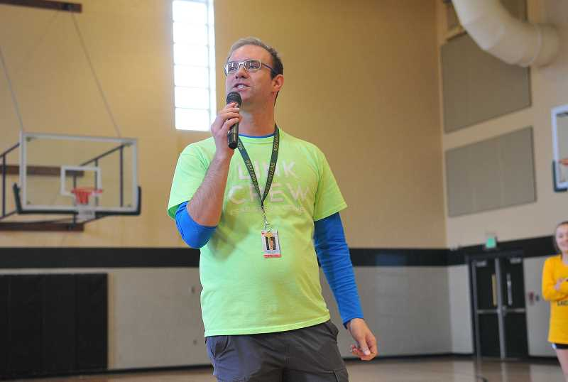 by: TIDINGS PHOTO: VERN UYETAKE - WLHS teacher Jonathan Peachy addresses the class of 2020.