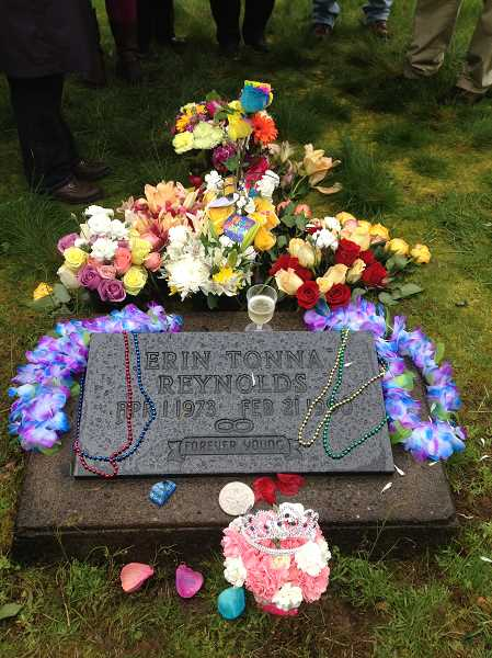 by: SUBMITTED PHOTOS - On April 1, 2013, Reynolds' family placed a flute of champagne on her grave at a Buxton, Ore., cemetery.