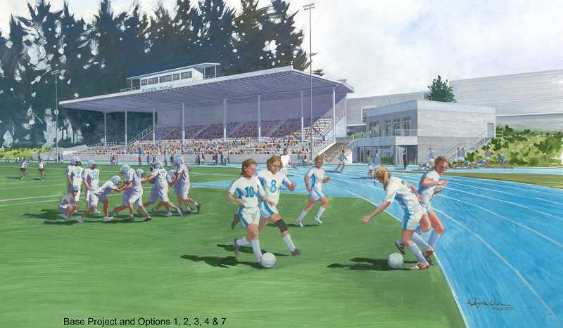 by: SUBMITTED RENDERING: WAYNE CHIN - The plan for the Lakeridge stadium is developing.