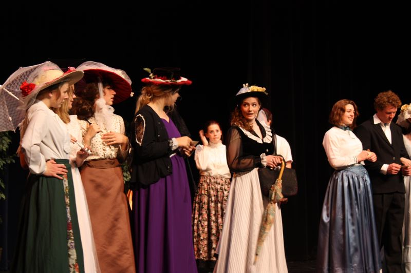 by: SPOTLIGHT PHOTO: ROBIN JOHNSON - Scappoose High School students perform a dress rehearsal Wednesday, April 30, for the school's spring musical, 'Hello Dolly!'